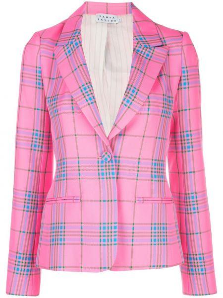 Облегающая розовая куртка с манжетами на пуговицах Tanya Taylor