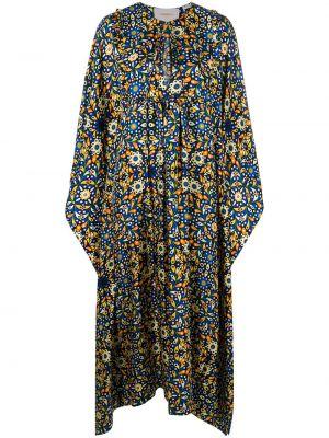 Синее шелковое платье с вырезом с декоративной отделкой La Doublej