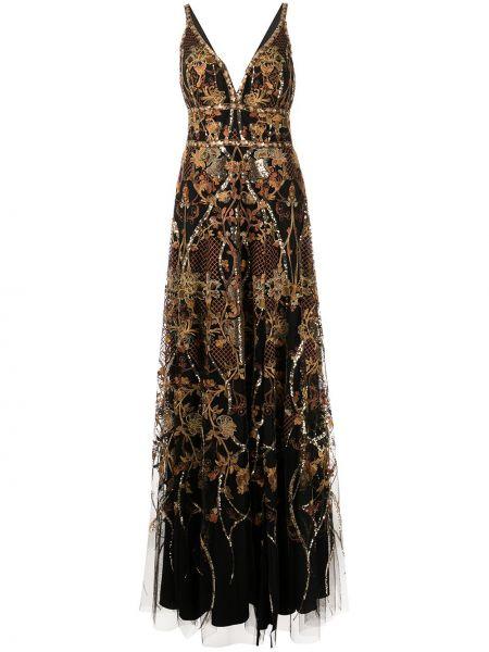 Вечернее платье с вышивкой - черное Marchesa Notte