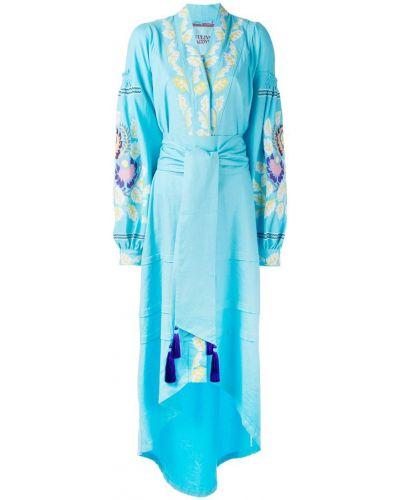 Платье с поясом с запахом с вышивкой Yuliya Magdych