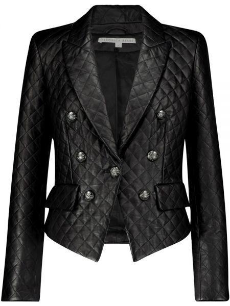 Стеганый кожаный черный пиджак Veronica Beard