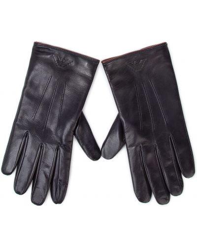 Skórzany rękawiczki czarny Emporio Armani