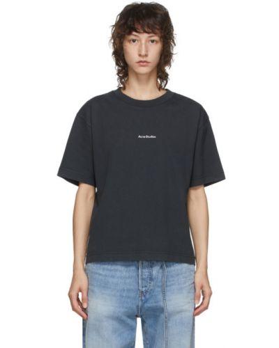 Хлопковая с рукавами черная рубашка с коротким рукавом с воротником Acne Studios