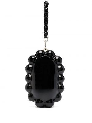 Czarna torebka perły z jedwabiu Simone Rocha