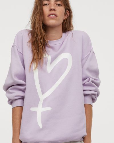 Фиолетовый мягкий хлопковый свитшот H&m