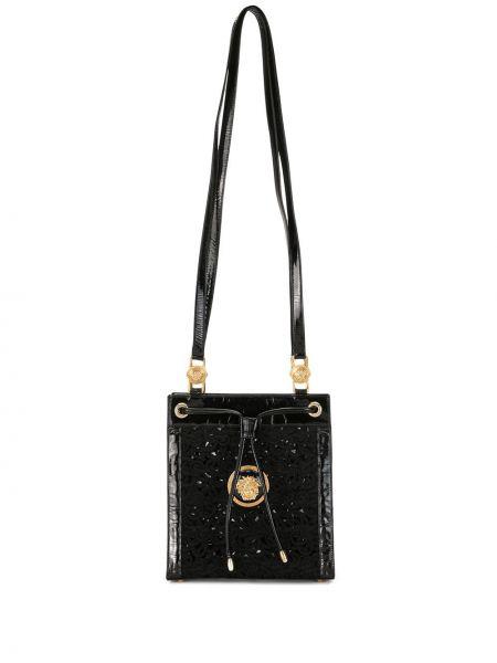 Золотистая черная кожаная сумка на шнурках сетчатая Versace Pre-owned