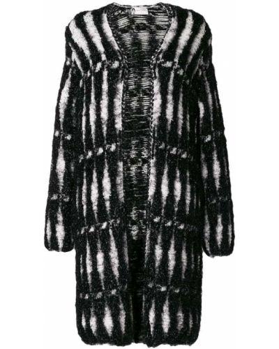 Черное длинное пальто с капюшоном металлическое Lanvin