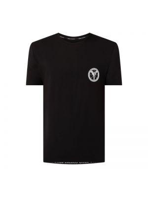 Czarny t-shirt bawełniany z printem Carlo Colucci