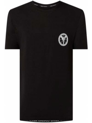 T-shirt z printem - czarna Carlo Colucci
