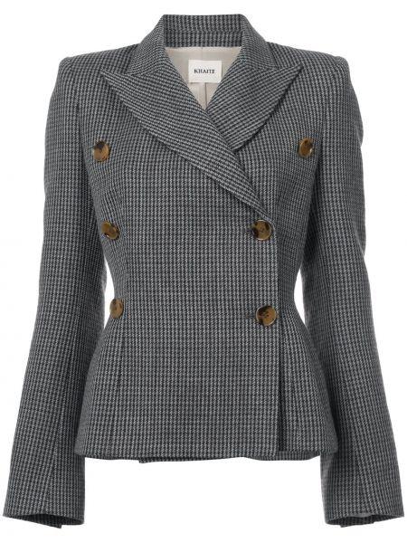 Шерстяной коричневый пиджак двубортный Khaite
