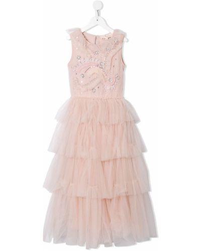 Розовое платье на пуговицах с вырезом круглое Tutu Du Monde