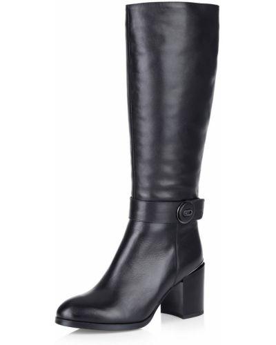 Сапоги на высоком каблуке черные кожаные Respect