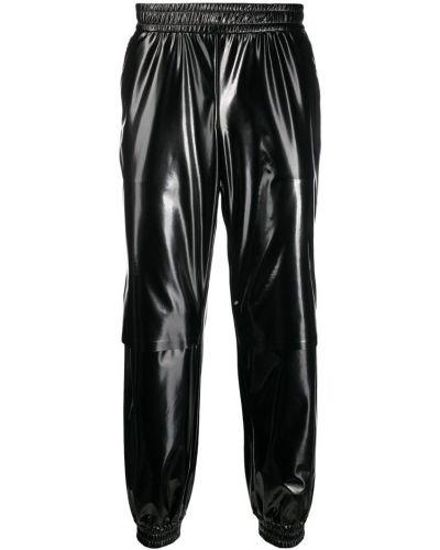 Черные прямые брюки с поясом с манжетами новогодние Wwwm
