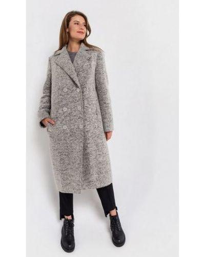 Повседневное серое шерстяное пальто с воротником Vovk