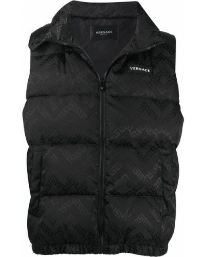 Черная жилетка без рукавов с нашивками Versace