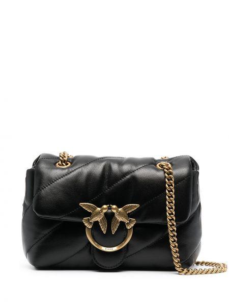 Кожаная стеганая черная сумка через плечо Pinko