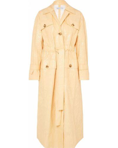 Текстильное желтое пальто с поясом Rejina Pyo