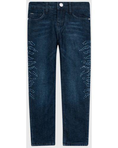 Классические темно-синие джинсы с подкладкой со стразами Ostin
