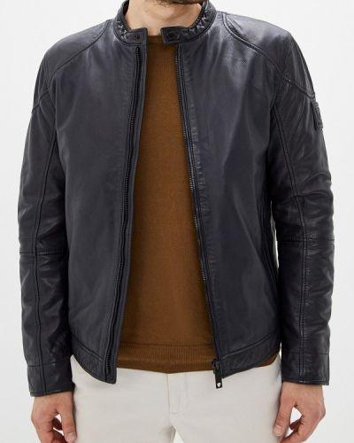 Кожаная куртка осенняя синяя Strellson