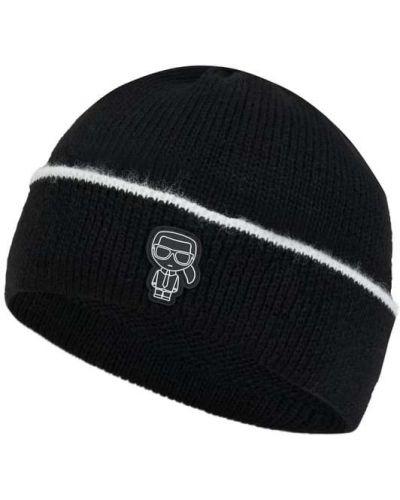 Czarna czapka wełniana Karl Lagerfeld