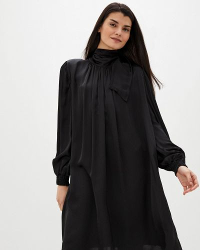 Прямое черное платье Please