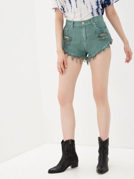 Джинсовые шорты зеленый Glamorous