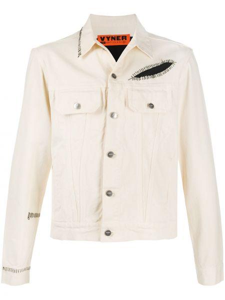 Белая джинсовая куртка пэчворк прозрачная с воротником Vyner Articles