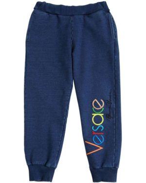 Niebieskie joggery z haftem bawełniane Versace