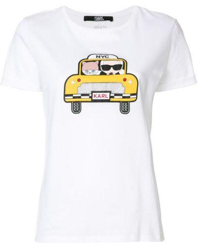 Белая футболка хлопковая Karl Lagerfeld