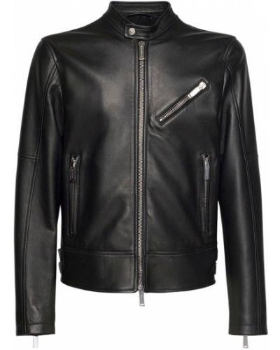 Кожаная куртка на молнии с подкладкой Dsquared2