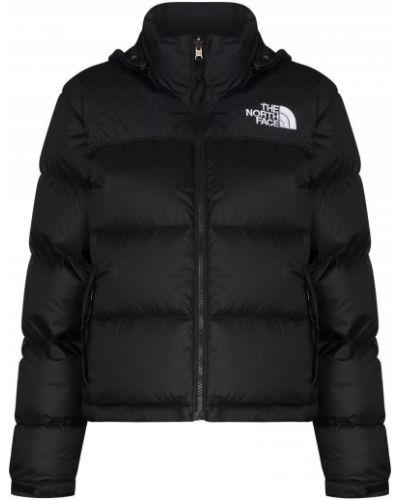 Прямой черный пуховик с капюшоном The North Face