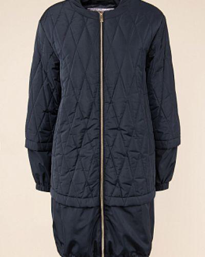 Прямое утепленное синее пальто Madzerini