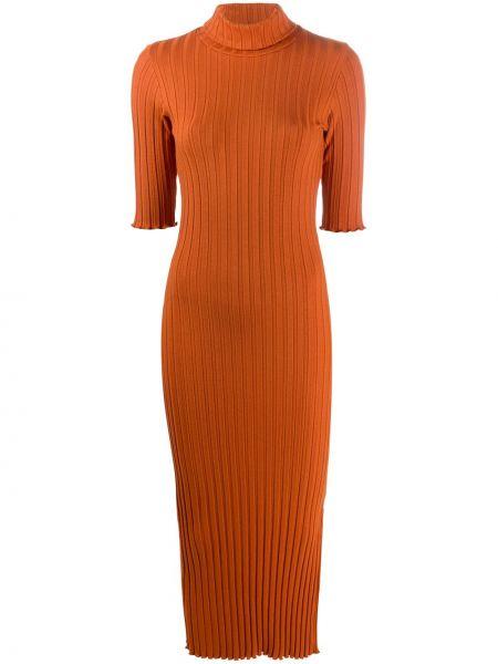 Pomarańczowy wyposażone sukienka midi krótkie rękawy Simon Miller
