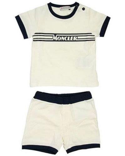 Niebieski dres bawełniany krótki rękaw Moncler