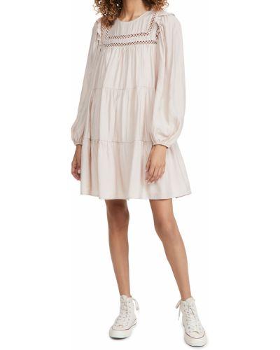 Розовое платье мини с длинными рукавами с декольте English Factory