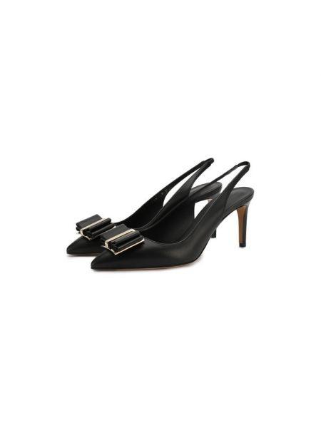 Туфли на каблуке черные кожаные Salvatore Ferragamo