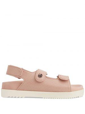 Sandały skórzane - różowe Gucci