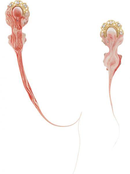 Красные серьги-гвоздики металлические с бабочкой Ottolinger