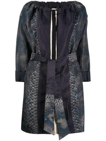 Шелковый синий пиджак с поясом Prada Pre-owned