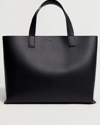 Czarna torba z krótkimi uchwytami bawełniana Mango