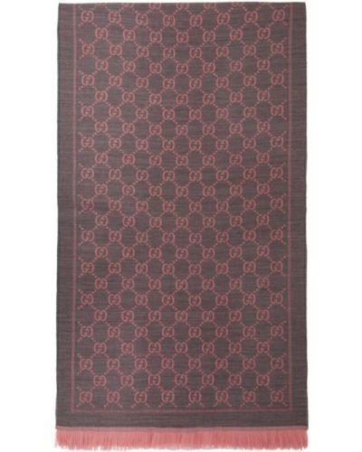 Różowy szalik bawełniany Gucci