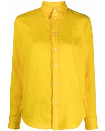 Желтая с рукавами классическая рубашка с воротником Polo Ralph Lauren