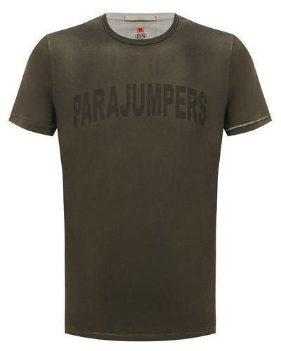 Хлопковая зеленая футболка с надписью Parajumpers