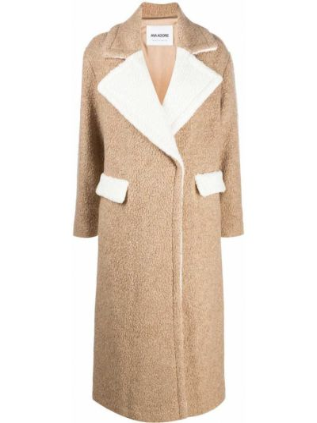 Коричневое шерстяное длинное пальто с воротником Ava Adore