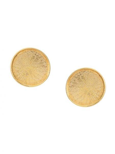Золотистые желтые серьги на кнопках круглые Serpui