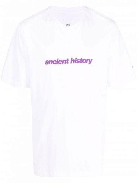 Biała T-shirt z nadrukiem bawełniana Oamc