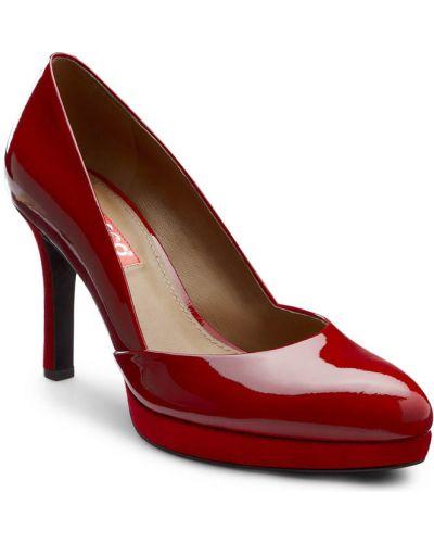 Туфли на каблуке кожаные на платформе Ecco