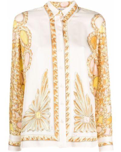 Biała koszula z długimi rękawami - biała Emilio Pucci