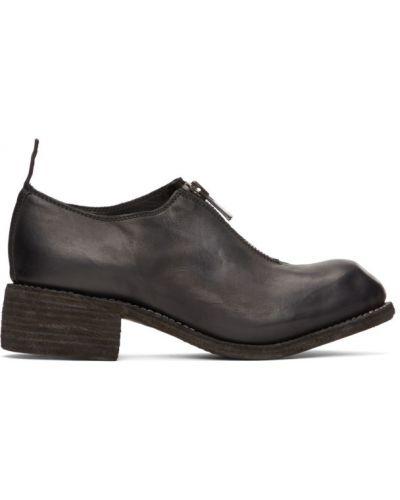 Czarne loafers skorzane kaskadowe Guidi