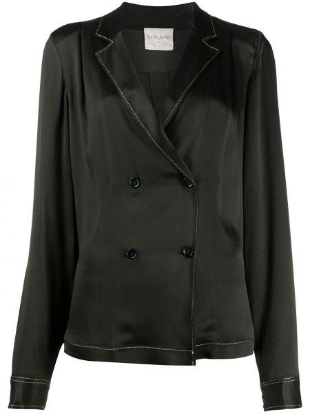 Шелковая с рукавами черная классическая рубашка Forte Forte